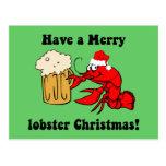 Merry lobster Christmas Postcard