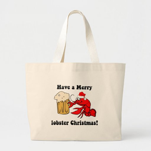 Merry lobster Christmas Tote Bags