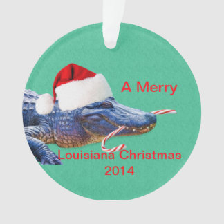 Merry Louisiana Christmas with Alligator Ornament