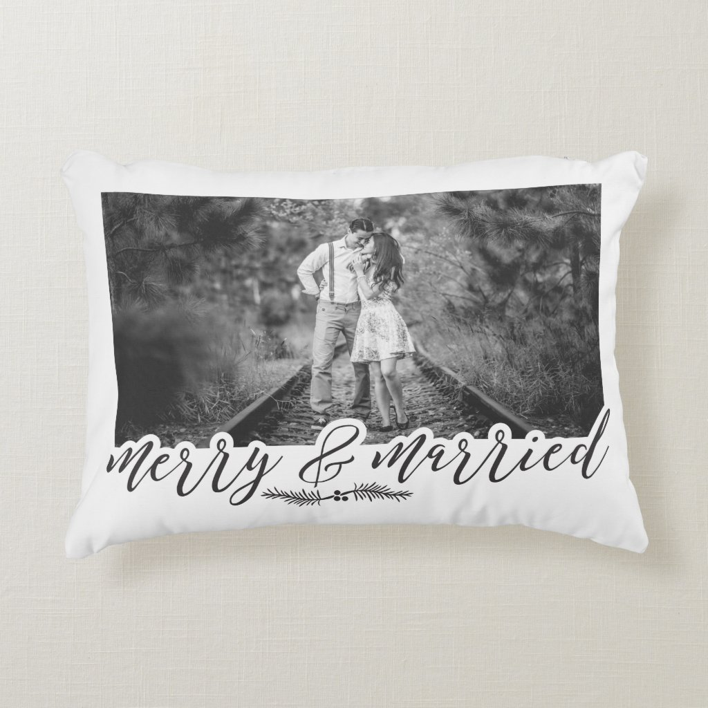 Merry & Married Christmas Photo Accent Pillow