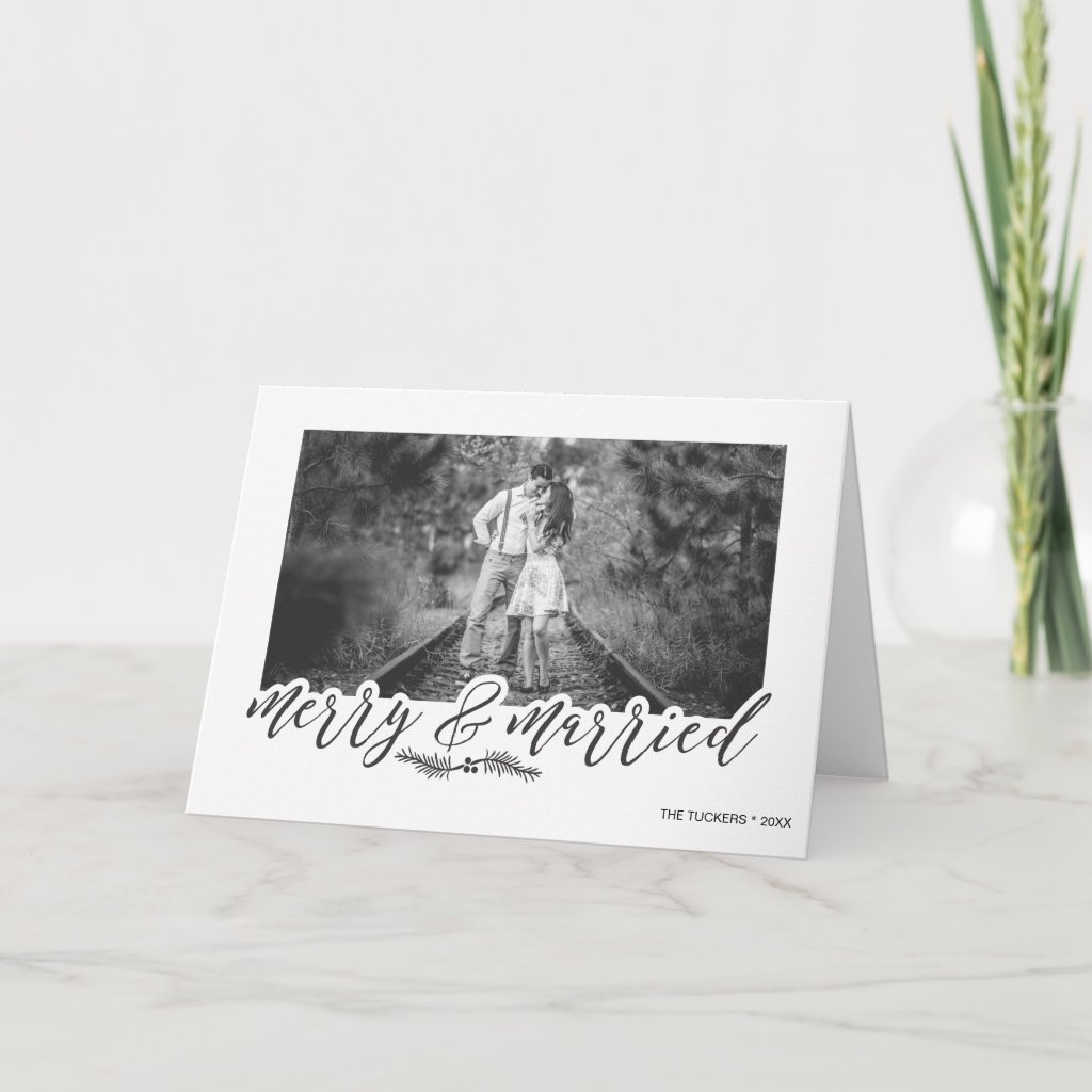 Merry & Married Christmas Photo Holiday Card