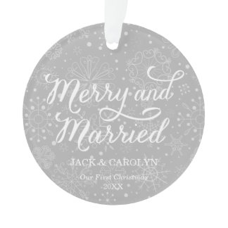 Merry & Married First Christmas Photo Ornament