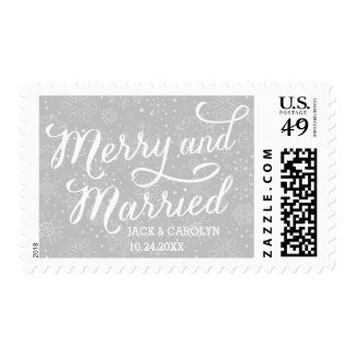 Merry & Married Personalized Newlywed Postage