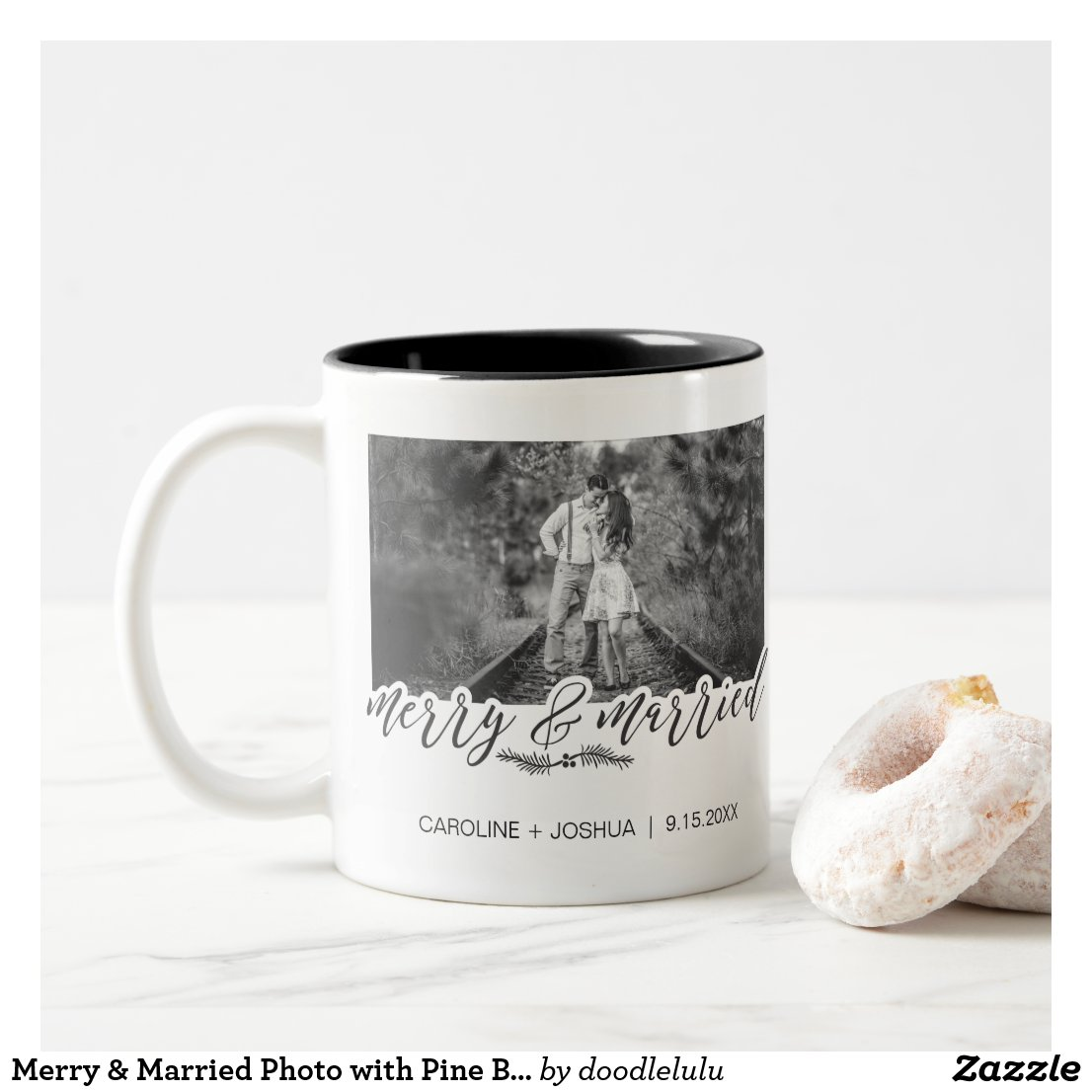 Merry & Married Photo with Pine Branch Two-Tone Coffee Mug