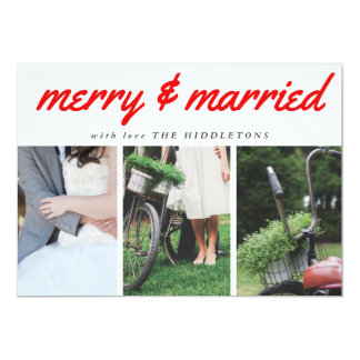 Merry & Married Red Typography Three Photo Holiday Card