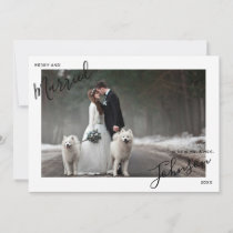 Merry & Married Script Name Photo Mr Mrs Christmas Holiday Card