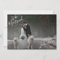 Merry & Married White Script Photo Christmas Card