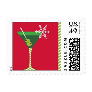 Merry Martini Postage Stamp