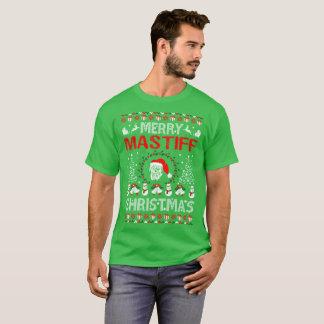 Merry Mastiff Dog Christmas Ugly Sweater Tshirt