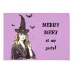 "MERRY MEET at my party! WITCH invitation 5"" X 7"" Invitation Card"