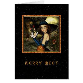 Merry Meet - Cute Witch Star Sky Card