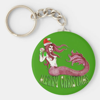 Merry Mermaid Christmas Key Chain