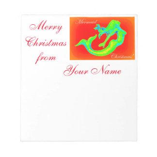 Merry Mermaid Christmas Notepad