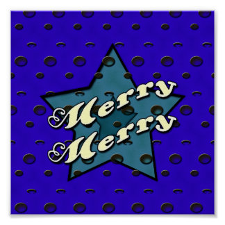 Merry Merry Blue Star Poster
