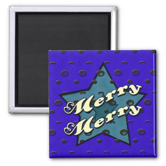 Merry Merry Blue Star Square Magnet