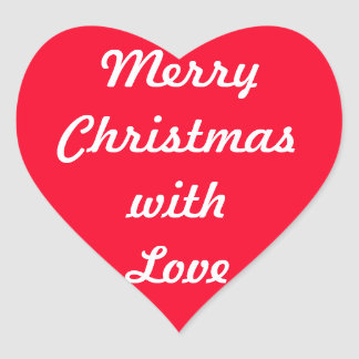 Merry Merry Christmas Designer Bright Red Xmas Heart Sticker