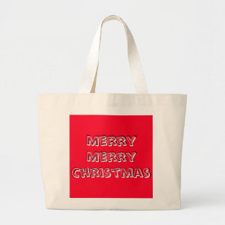 Merry Merry Christmas Designer Bright Red Xmas Large Tote Bag