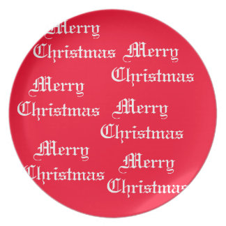 Merry Merry Christmas Designer Bright Red Xmas Party Plate