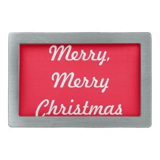 Merry Merry Christmas Designer Bright Red Xmas Rectangular Belt Buckle