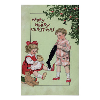 Merry Merry ChristmasKids with Toys by Tree Poster
