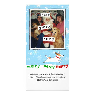 Merry Merry Merry Jack Russell Terrier Christmas Photo Card