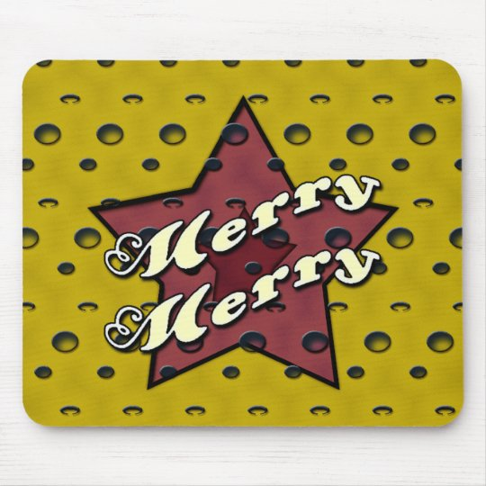 Merry Merry Ochre Star Mouse Pad