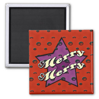 Merry Merry Red Star Square Magnet