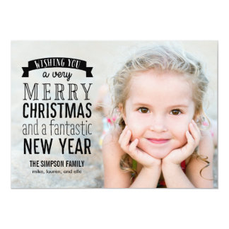 Merry Message Holiday Photo Card - Overlay Custom Announcement