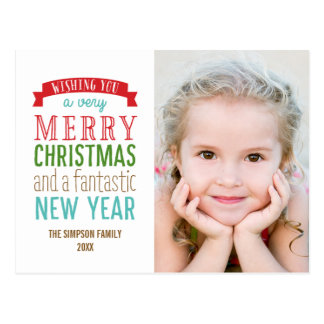 Merry Message Holiday Photo Card Postcard - White