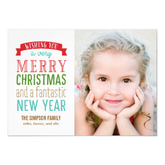"""Merry Message Holiday Photo Card - White 5"""" X 7"""" Invitation Card"""