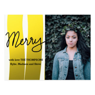 Merry Modern Script Gold Stripes Holiday Photo Postcard
