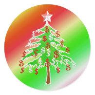 Merry Money Tree Round Stickers
