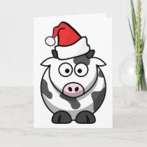 Merry Moo Christmas Cow Santa Hat Custom Words Holiday Card