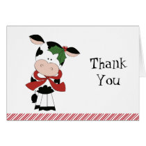 Merry Moo Christmas Cow Thank You Notes