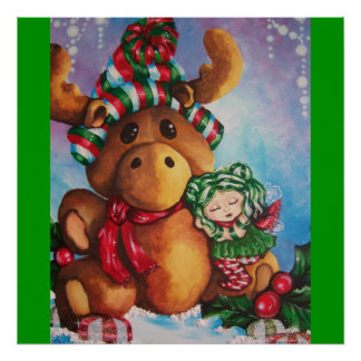 Merry Moose Wishes Art Print