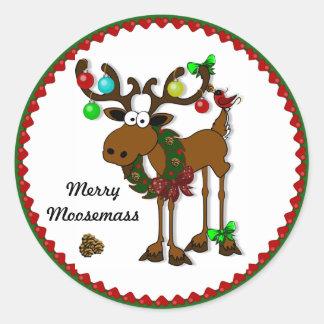 Merry Moosemass Round Sticker