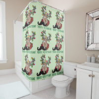 Merry Moostache Christmas Moose Shower Curtain
