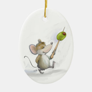 Merry Mouse Moe with Olive Oval  Ornament