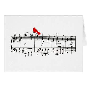 Christmas Themed Merry Music Cardinal Christmas Greeting Card