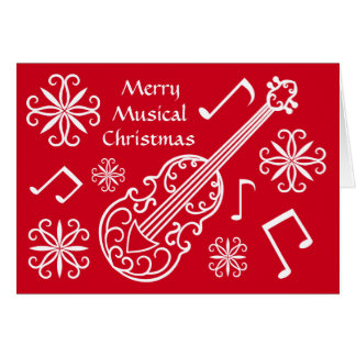 Merry musical Christmas red and white violin Card
