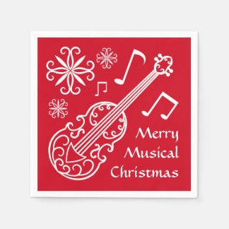 Merry musical Christmas red and white violin Paper Napkins