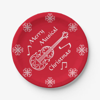 Merry musical Christmas red and white violin 7 Inch Paper Plate