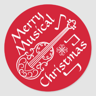 Merry musical Christmas red and white violin Classic Round Sticker