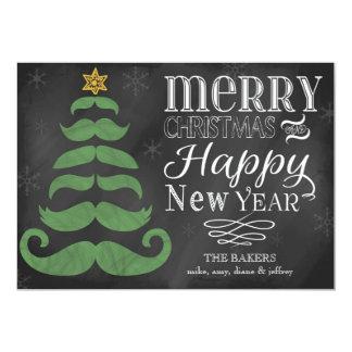 Merry Mustache Chalkboard Flat Christmas Card