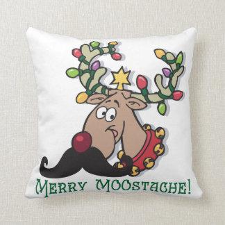 Merry Mustache Throw Pillow