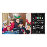 Merry n Bright Holidays Modern Photo Christmas Photo Card
