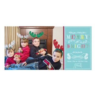 Merry n Bright Holidays Modern Photo Christmas Personalized Photo Card