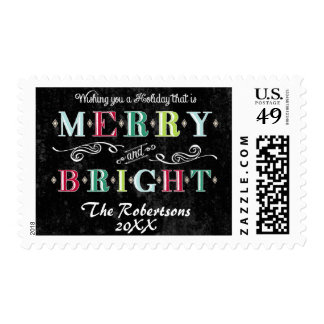 Merry n Bright Holidays Modern Xmas Christmas Stamps