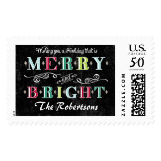 Merry n Bright Holidays Modern Xmas Christmas Postage