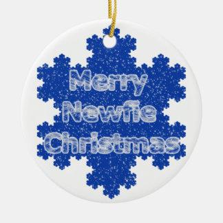 Merry Newfie Christmas Ceramic Ornament